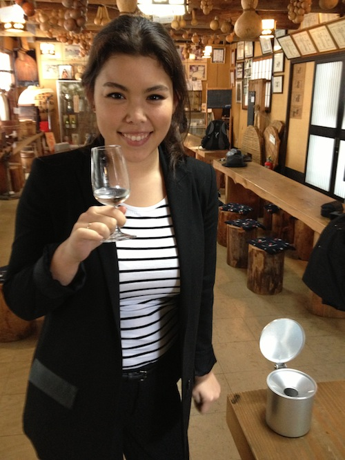 Miki at the Yoshinogawa sake brewery.